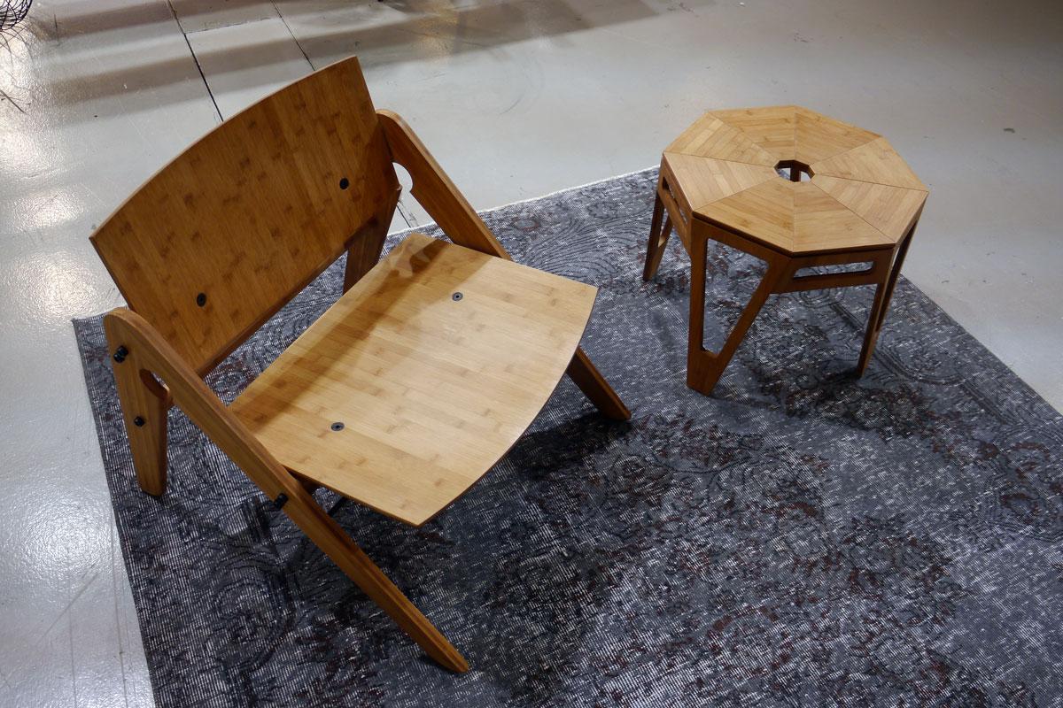 We do wood stuhl und loungetisch aus bambus for Stuhl nordisches design