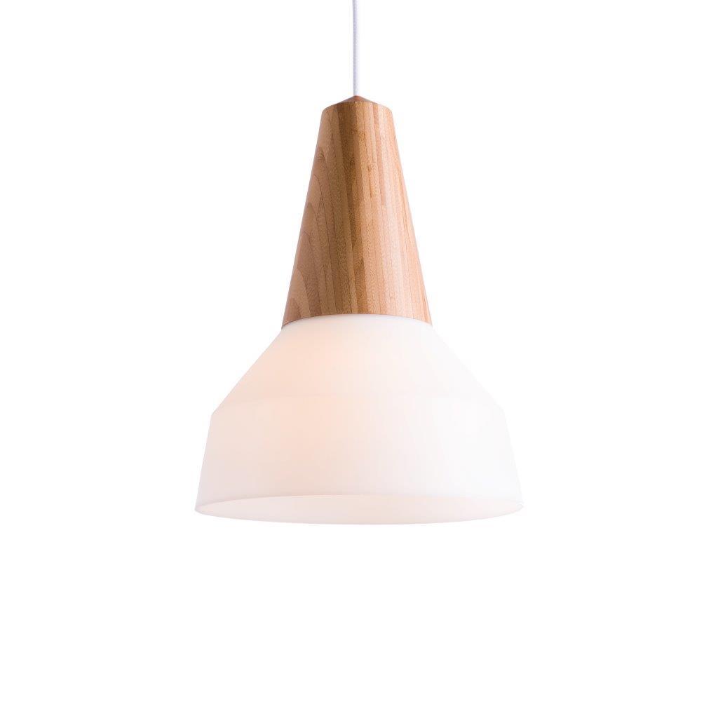 Die Pendelleuchte EIKON BUBBLE BASIC mit Holzsockel und Lampenschirm aus weißem Silokon wirkt erfrischend im Raum