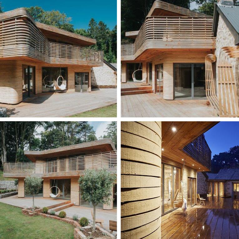 Das Designerhaus ist mit einer speziellen Holzverkleidung veredelt