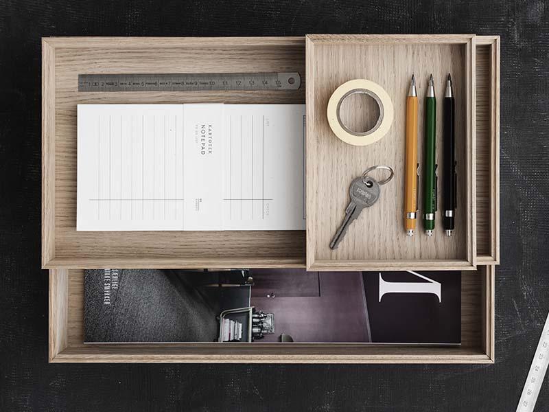 ORGANISE von Moebe - Stapelbare Holzschatullen im minimalistischen Design für Ordnung am Arbeitsplatz
