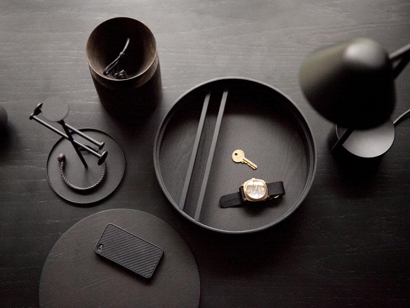 Holzschachtel ROUND BOX Eichenfurnier schwarz gebeizt Shaker Menu