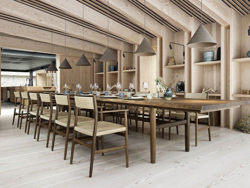 Lange Sitztafel im NOMA Restaurant Kopenhagen