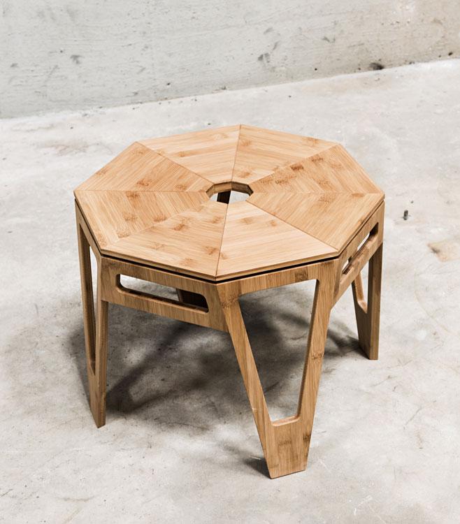 Beistelltisch octagon von we do wood - Bambus couchtisch ...