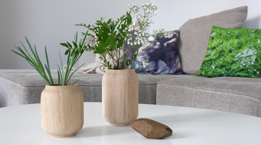 holzvasen poppy von applicata i holzdesignpur. Black Bedroom Furniture Sets. Home Design Ideas